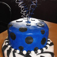"16Th Birthday: Zebra & Kentucky Blue 2 tier 6"" & 8"" round red velvet cake iced with buttercream icing overlayed with fondant. Top Tier: Kentucky blue with black..."