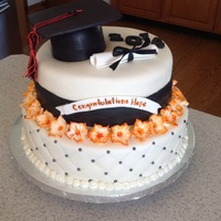 Graduation Cake This a a cake I made for a Delaware Hayes Graduate. She really didn't want the school colors (orange and black) but decided to go a...
