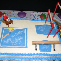 Gymnastics Birthday Cake This was for my daughter's 7th birthday party at the gym where she is in competitive gymnastics. I had a blast with this cake....
