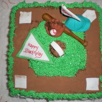Baseball Baseball field with bat, glove, ball, cap gumpaste, fondant, marzipan and buttercream