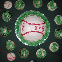 Baseball Cake buttercream cake, cupcakces with tinted coconut and cupcakes