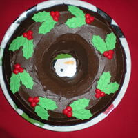 Chocolate Bundt Cake Chocolate buttercream and devil's foodcake with holly leaves
