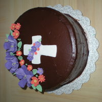 Holy Commmunion Chocolate buttercream, devils food cake, fondant/gumpaste