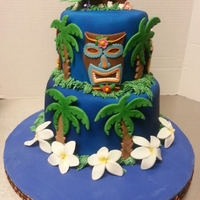 Tiki Cake Tiki cake is for our luau themed Family Reunion 2012. Cake inspired by Pink Cake Box. Tiki designs are my own and hand made and cut myself...