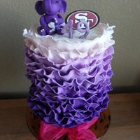 Purple Ombre Ruffle Cake For my sister's birthday during the Superbowl. Her favorite color is purple and she wanted a purple elephant (for good luck).