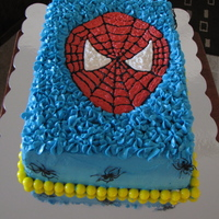 Spidey! Chocolate cake w/vanilla buttercream. All free-handed.