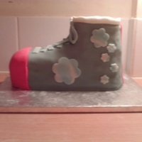 Boot Trial cake for my Roller skate cake. I wanted to make sure I could get the shape right first