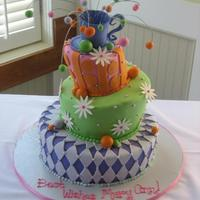 Magical Mad Hatter Bridal Shower Cake  This Cake was done for my girlfriend for her bridal shower. It was a three layer, three tier wonderful topsy turvy cake with a hand made...