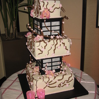 Cherry Blossom Lantern Wedding Cake, Lights Up!  This cake was custom made for my friends wedding, the bottom layer was neopolitan with chocolate buttercream 3 layers high, with a hand...