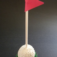 "Golf Ball Cake Pop Golf ball cake pop trial run. I used small silicone cupcake molds to make the ""grass""."