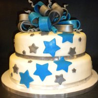 Silver And Blue Star Cake Cake made for an event honoring special education teachers, and matched the decor for the event. Lemon cake with Lemon cream cheese...