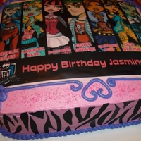 Monster High Monster High edible image with sugar sheet zebra striped sides.