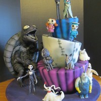 Tim Burton Character Cake I made this cake for my boyfriend's niece's birthday with characters from The Nightmare Before Christmas, Frankenweenie, and The...