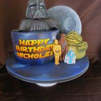 Star Wars Cake Star WArs cake for a little boy. The figures are modeling chocolate and cereal treats, and the death star is foam board. Everything is hand...