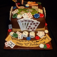 Gambling Cake All edible gambling cake, lady made from modeling chocolate, cards are gumpaste, poker chips are fondant.