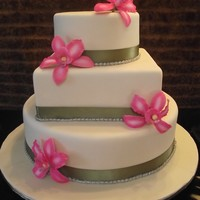 Orchid Wedding Cake ivory fondant cake and gumpaste orchids