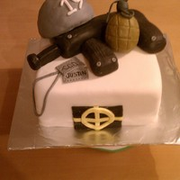 Call If Duty 19Th Birthday Last minute cake for a friend! Gun, helmet, and grenade are RKT covered in fondant.