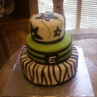 Lime Green Zebra This is my 6th fondant cake that I made for my sisters birthday.