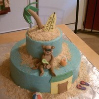Beach Monkey Beach monkey cake for a first birthday. Buttercream with fondant accents. Gumpaste monkey