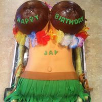 Hula Girl Cake Hula girl cake I did for my boss who had buddies in town from Hawaii. The coconut bra was formed, textured and dried with fondant on the...
