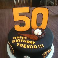 50Th Baseball Birthday Cake Fun cake for a huge baseball fan, bat and glove are hand molded from gum paste, Im still learning and just love new challenges. the big 50...