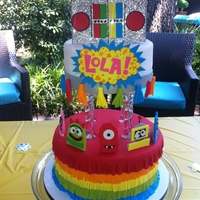 Rainbow Yo Gabba Gabba Birthday Cake  I made this for my best friend's little girl's birthday. Everything but the structure is completely edible. Thanks for looking...