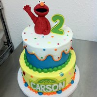 Tiered Elmo Birthday Cake Elmo, 2 and Sesame Street sin are fondant, the rest is buttercream.