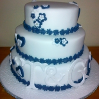 Hearts And Flowers Wedding Cake