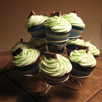Chocolate Mint Cupcakes Hershey's chocolate cupcakes with a Girl Scout Thin Mint cookie baked inside. Topped with chocolate ganache and peppermint cream...