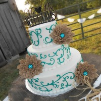 Teal Scrolls And Burlap Flowers Buttercream and burlap flowers