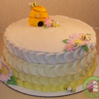 A Bee Inspired Birthday Cake Chocolate Cake With Toasted Marshmallow Filling Decorated With Vanilla Buttercream And Fondant Details Tha A bee inspired birthday cake! Chocolate cake with toasted marshmallow filling, decorated with vanilla buttercream and fondant details....