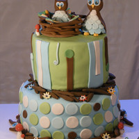 Owl Themed Baby Shower Cake Top Tier Is Vanilla Cake With Mixed Berry Buttercream Bottom Tier Is Chocolate Cake With Toasted Marshmallow  Owl themed baby shower cake. Top tier is vanilla cake with mixed berry buttercream. Bottom tier is chocolate cake with toasted marshmallow...
