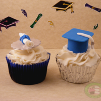 Graduation Cupcakes! Chocolate cupcake with vanilla buttercream. Orange creamsicle cupcake. Fondant accents. Thanks for looking! :)