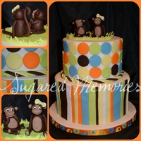 "Monkey Fun This is a display cake made for a local mom to mom sale. 6"" and 8"" inch rounds, Monkeys are made with chocolate fondant. Thanks..."