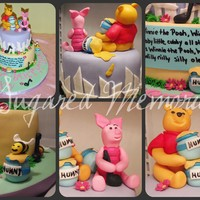 Winnie The Poo Birthday Vanilla cake with Vanilla buttercream, gumpaste figures.