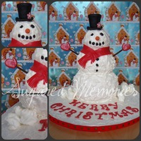 Mr. Snowman A vanilla cake with raspberry filling and buttercream. Cake is covered with buttercream and fondant accents. Snowballs on the board are...