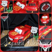 Lightning Mcqueen Carved vanilla pound cake with banana chocolate filling. All details are fondant and handpainted (95's and lightning bolts). Thanks...
