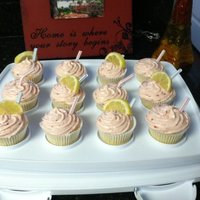Strawberry Lemonade Cupcakes Lemon base, made from scratch, with fresh strawberry buttercream icing!
