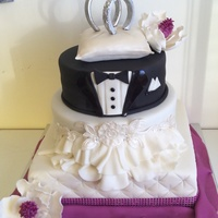 Wedding Themed Cake For À Christmas Party   Everything is handmade and edible except the plastic diamond on the ring