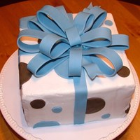 Blue & Brown Baby Shower Bow Cake