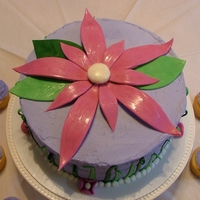 Flower Cake And Cupcakes For Fairy Party buttercream frosting with fondant decorations