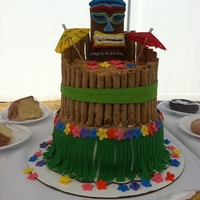Tiki Cake this cake was done for a fundraising event at a tiki bar in NJ. super easy and it was a hit. rolled out green fondant just larger than...