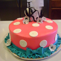 Ruffles & Dots Covered in butter cream with mmf polka dots and ruffle.