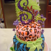 Color Crazy! The cheetah print is painted on mmf with food coloring. top layer covered in mmf, bottom layer butter cream with mmf zebra stripes.