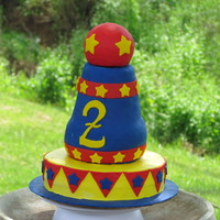 Circus Cannon I made this for my son's 2nd birthday. Its the biggest cake I've ever made so its not perfect but I'm learning! Bottom layer...