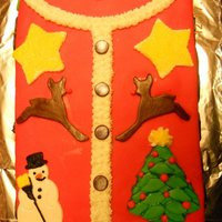"Ugly Sweater Party Cake Everything on the cake is made out of MMF except for the ruffle around the collar, which is just buttercream. ""HSC"" stands for..."