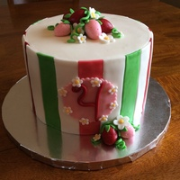 Strawberry Shortcake Inspired Cake 3 tiered 8 inch Strawberry Shortcake inspired cake.