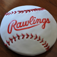 Baseball Cake Mmf covered vanilla cake. Brand hand-painted on after doing a graphite transfer.