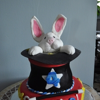 Magician's Hat Chocolate and vanilla layers with bunny made from rice krispies. All covered in fondant. Wand is spaghetti covered in fondant.
