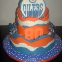 Oilers Cake  First time trying to do the chocolate wrap method, dark chocolate cake, whipped dark choc ganache filling , covered with dark choc ganache...